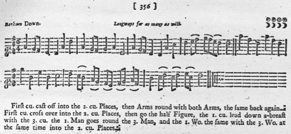 Music & notation for Barham Down, Playford 1701